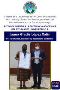 Estudiante recibe reconocimiento